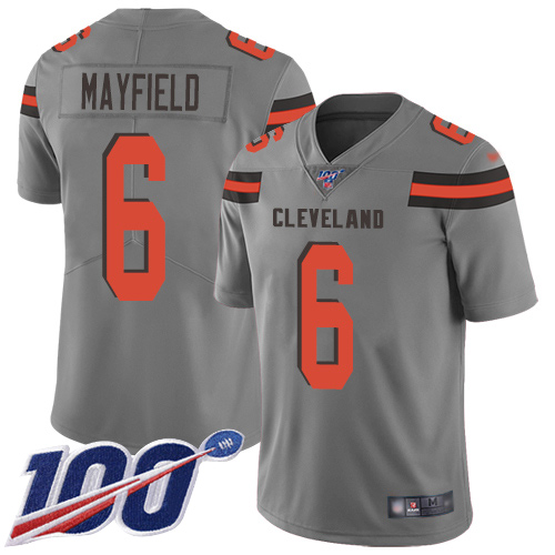 cheap jerseys youth Youth Cleveland Browns #6 Baker Mayfield Gray ...